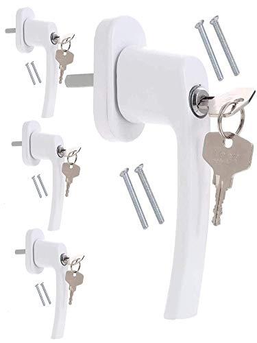 4 Fenstergriffe abschließbar Weiß | Kindersicherung für Fenster | Fenstersicherung mit Schlüssel...