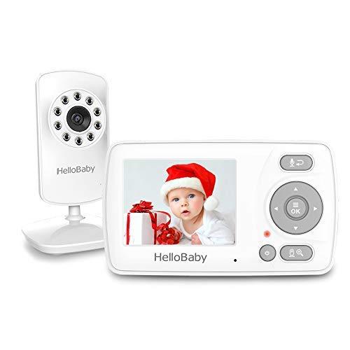HelloBaby Babyphone mit Kamera und Audio, Infrarot-Nachtsichtkamera, VOX-Modus, Temperaturanzeige,...