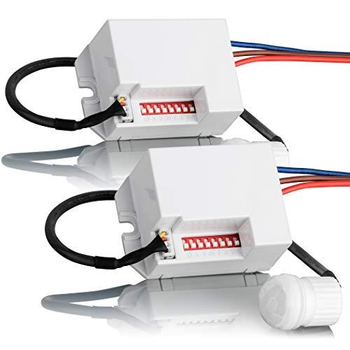 SEBSON® Mini Bewegungsmelder Innen - 2er Set - Unterputz Deckenmontage zum Einbauen programmierbar,...