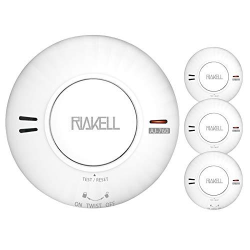 RIAKELL 3er Set Rauchmelder 10 Jahre Batterie, TÜV und DIN EN 14604 geprüfter Rauchwarnmelder...