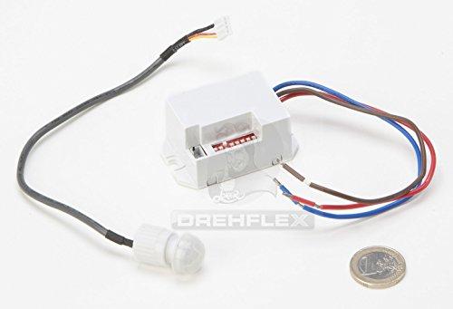 Drehflex® Mini PIR-Bewegungsmelder zum Einbauen, 240Volt, LED geeignet