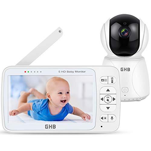 Babyphone mit Kamera 5 Zoll Babyphone HD 720P Bildschirm 350 ° Weitwinkel ECO Gegensprechen...