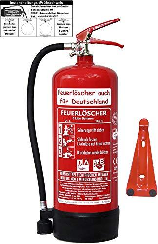 6 L Schaum Feuerlöscher Brandklasse AB DIN EN 3 + GS, Manometer, Wandhalter, Messingarmatur...