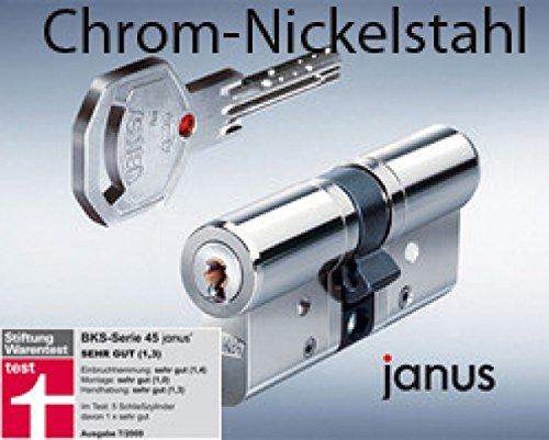 BKS Profilzylinder Janus 46 Chrom -Nickelstahl ink. Sicherungskarte/mit 4 Schlüsseln Maße A 35 / I...