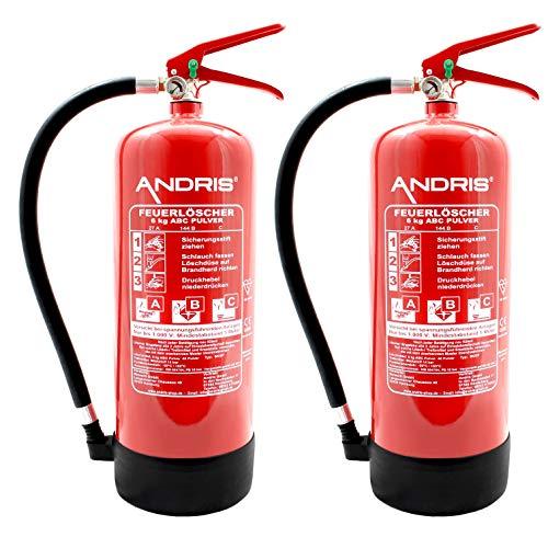 2X Orig. ANDRIS® Marken-Feuerlöscher 6kg ABC Pulverlöscher mit Manometer EN 3 inkl....