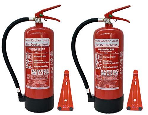 2X 6 kg ABC Pulver Feuerlöscher NEU Orginalverpackt Brandklasse ABC, EN3, Manometer, Messingarmatur...