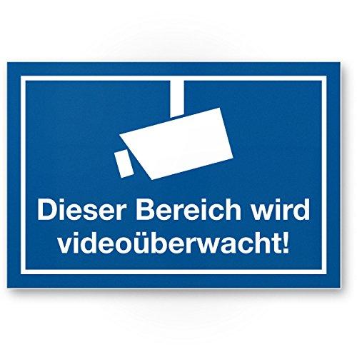 Komma Security Bereich wird videoüberwacht Kunststoff Schild Hinweisschild Innen Außen Warnhinweis...